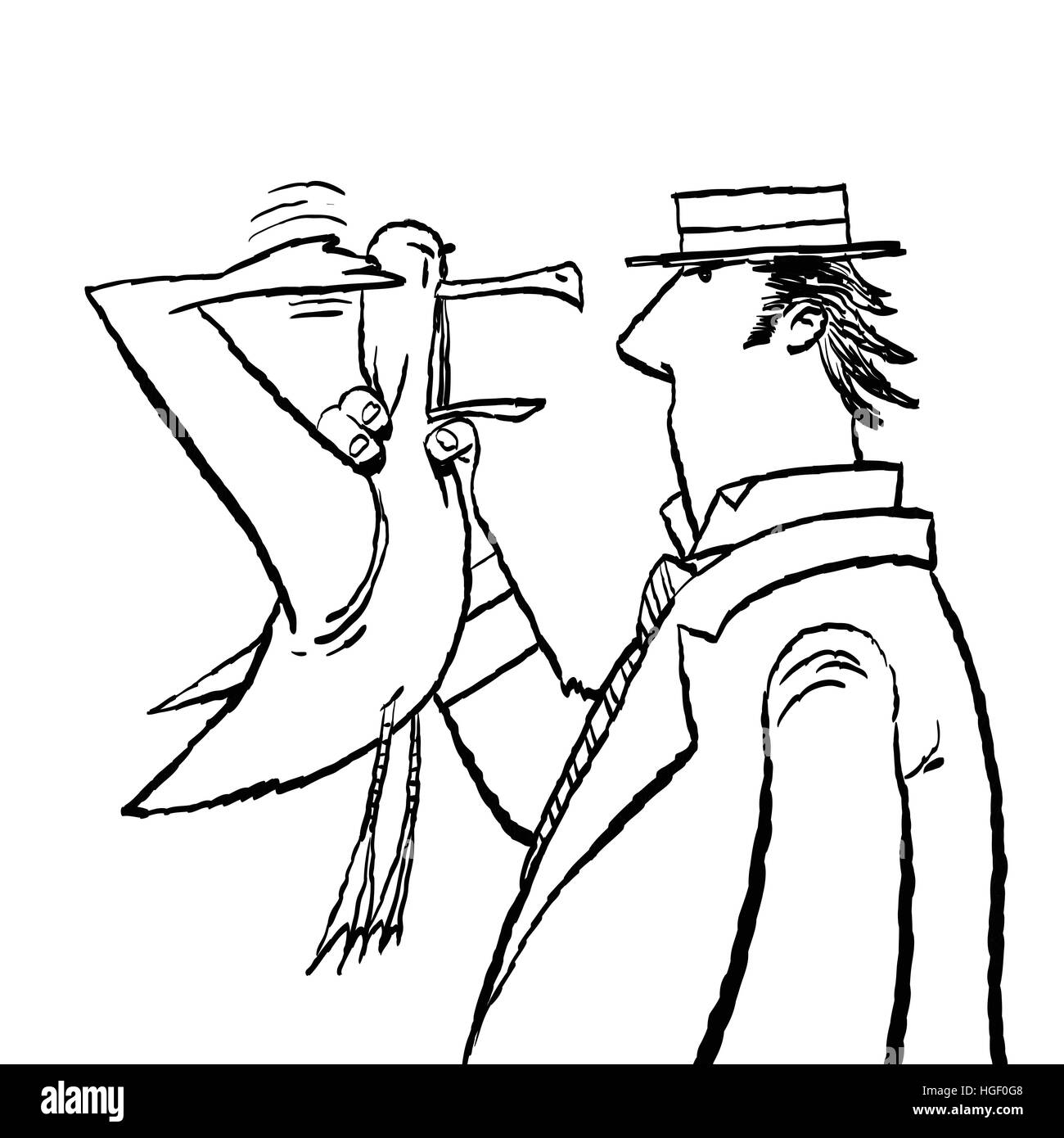 Gentleman and Seagull humor - Stock Vector