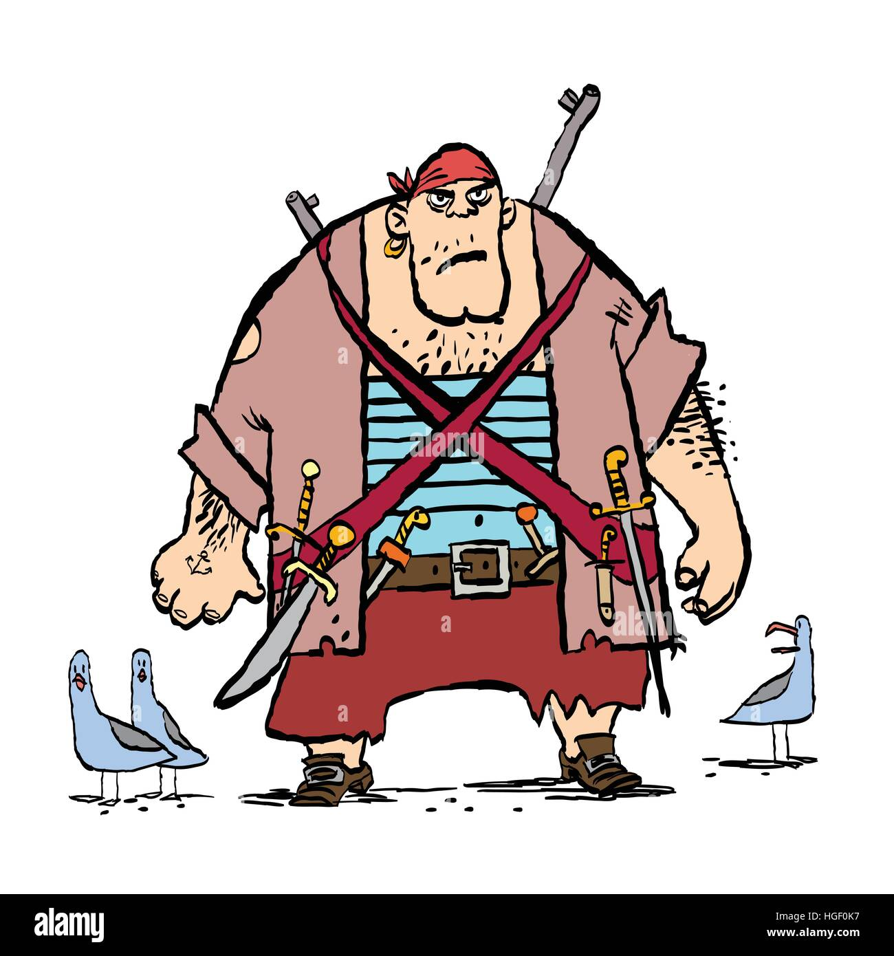 Huge funny pirate and seagulls - Stock Image