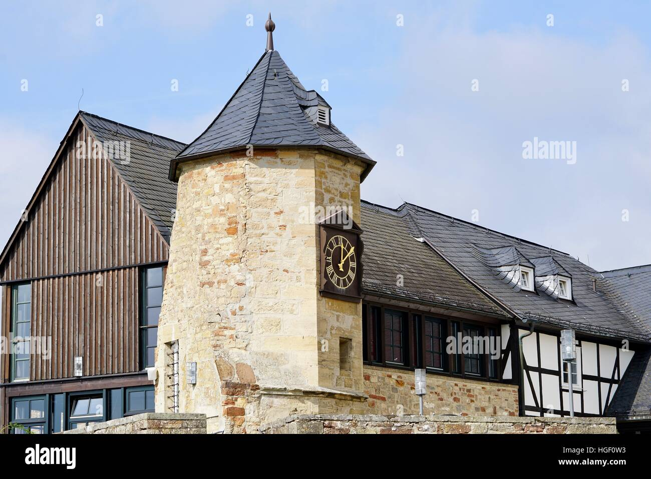 view of the tower of the castle of Waldeck - Stock Image
