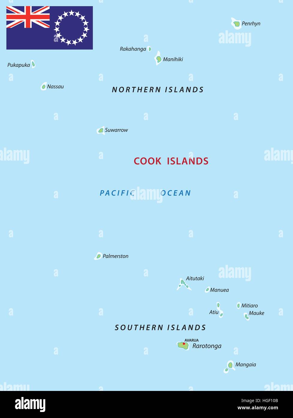 cook islands map Stock Vector Art Illustration Vector Image