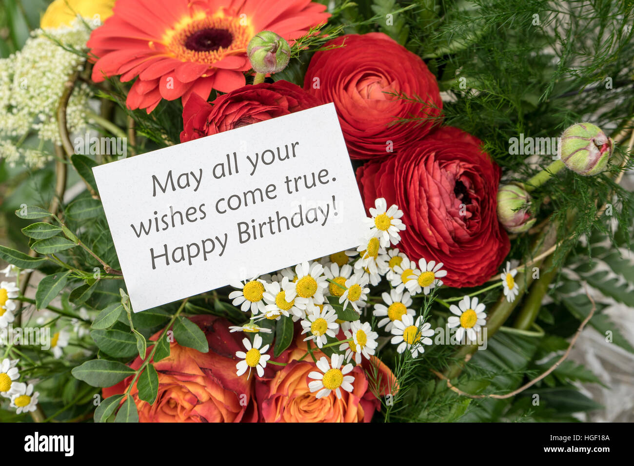 English birthday greetings stock photos english birthday greetings english greeting card birthday with red flowers stock image m4hsunfo