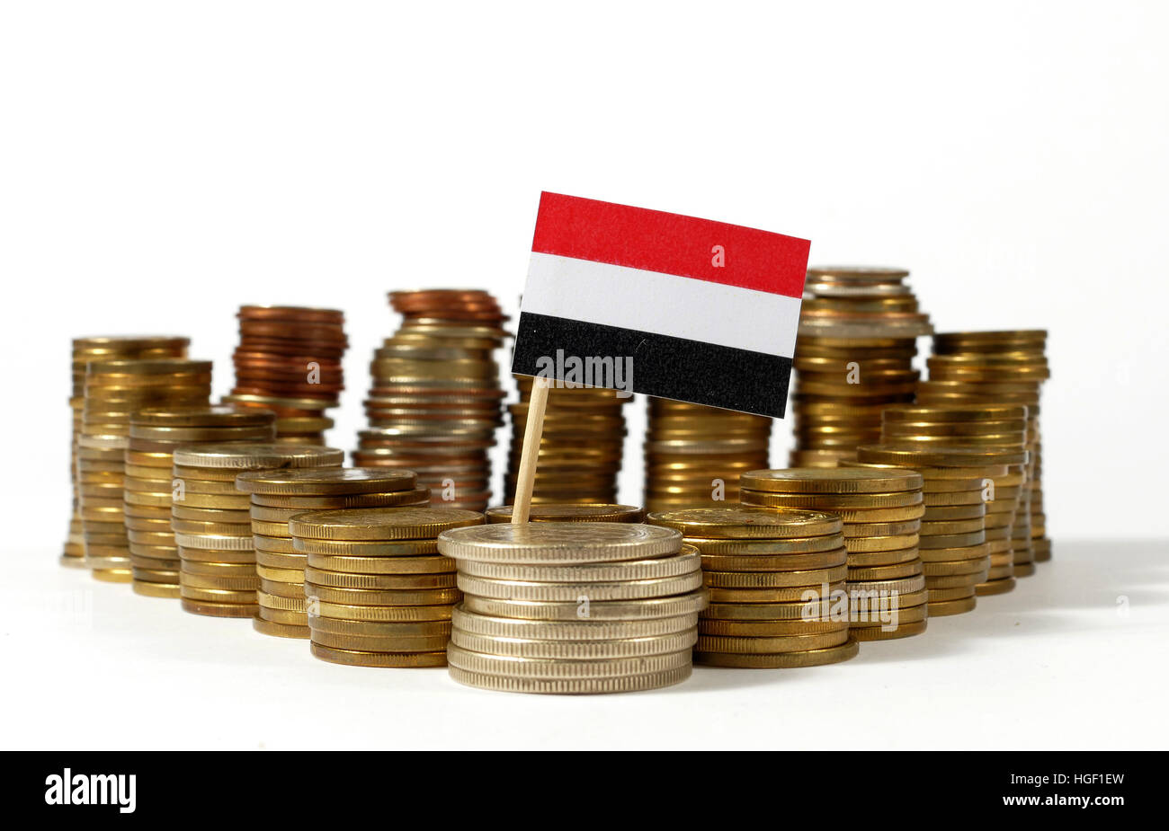 Yemen flag waving with stack of money coins - Stock Image