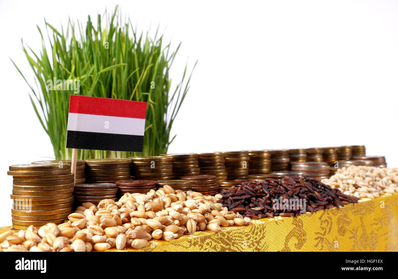 Yemen flag waving with stack of money coins and piles of wheat and rice seeds - Stock Image