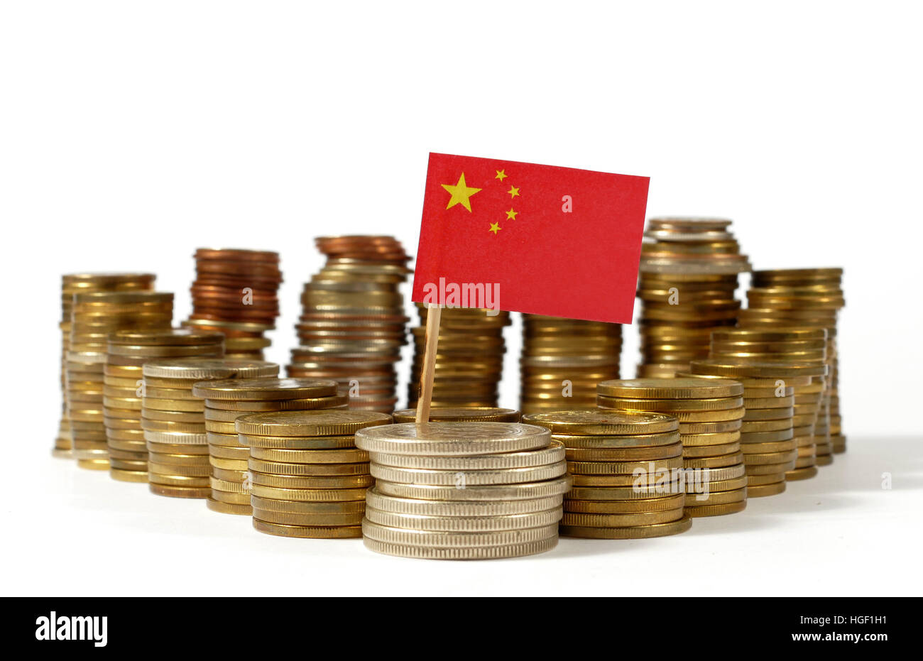 People's Republic of China flag waving with stack of money coins - Stock Image