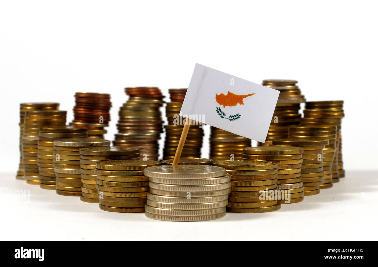 Cyprus flag waving with stack of money coins - Stock Image