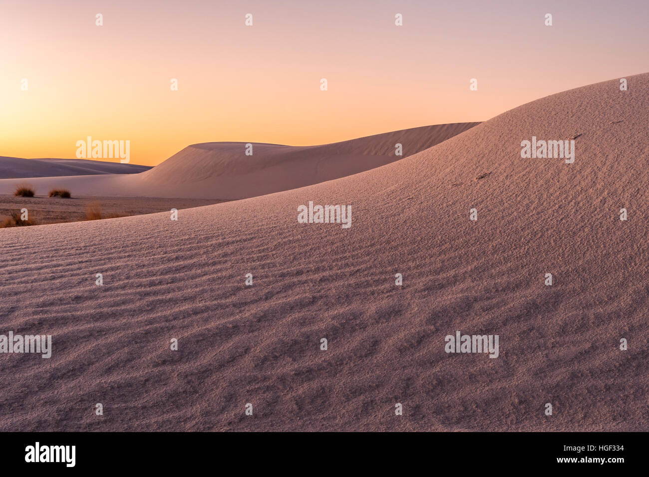 Typical dune formations at White Sands National Monument in New Mexico, NM, USA. - Stock Image