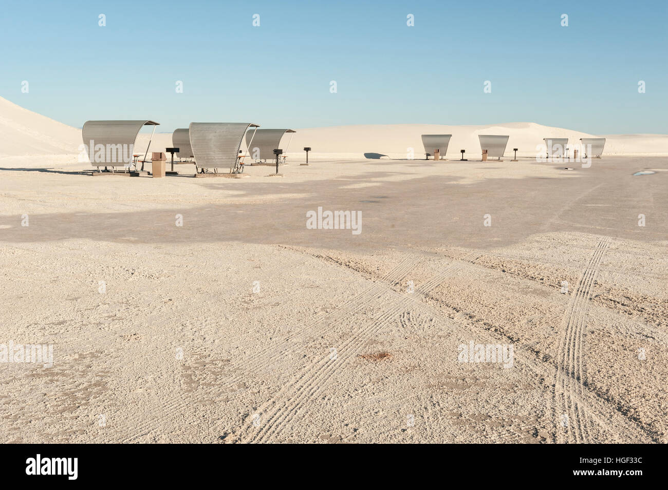 Picnic shelters with benches and grills at White Sands National Monument, New Mexico, NM, USA. - Stock Image