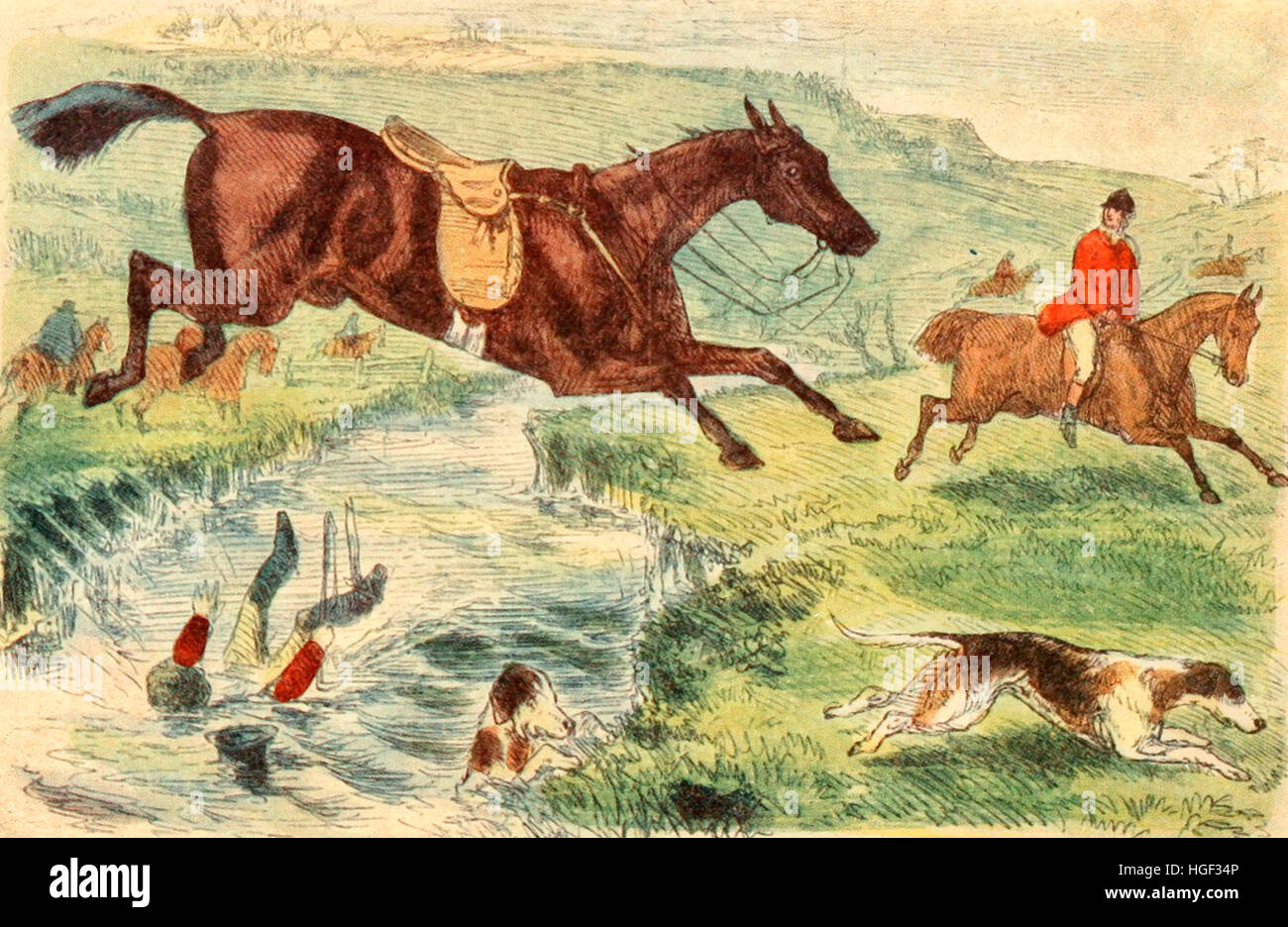 The Humours of Fox Hunting. English fox hunting in the 1800s - Stock Image