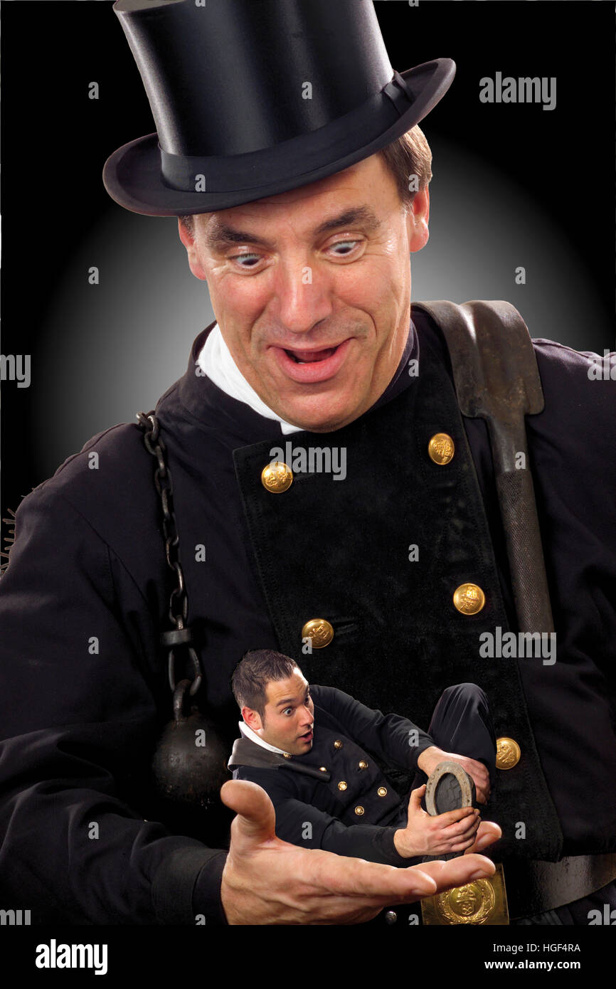 Two chimney-sweeps, symbol for doubled luck - Stock Image