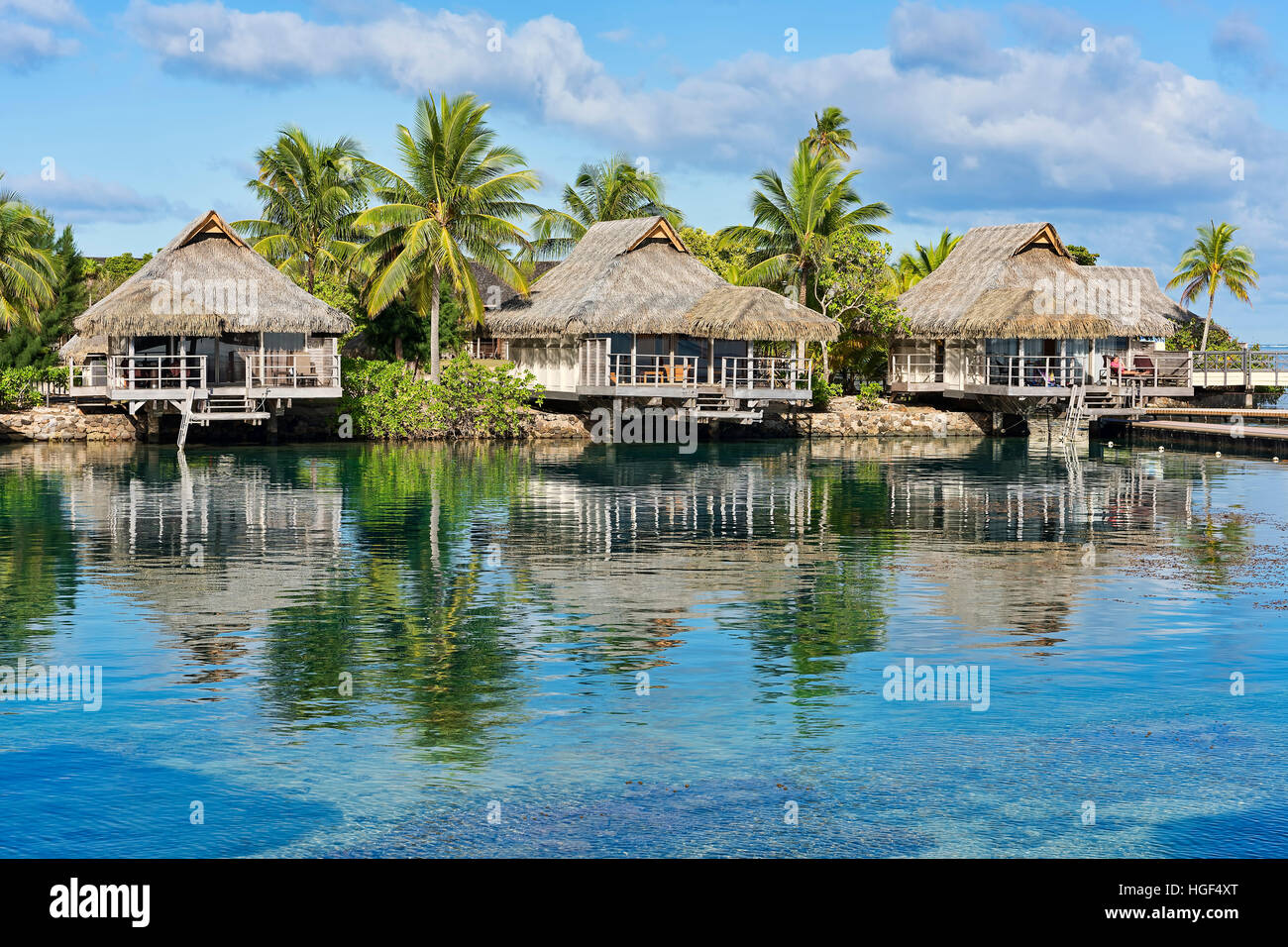Holiday resort with bungalows, Moorea, French Polynesia - Stock Image