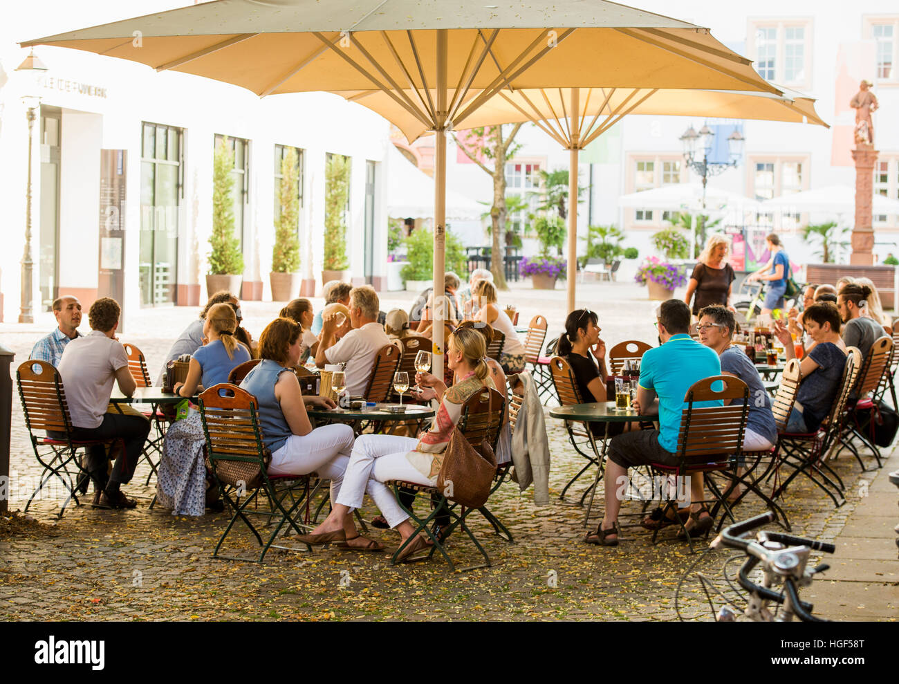 Restaurant and beer garden in front of Ettlinger Castle, Ettlingen, Black Forest, Baden-Württemberg, Germany - Stock Image