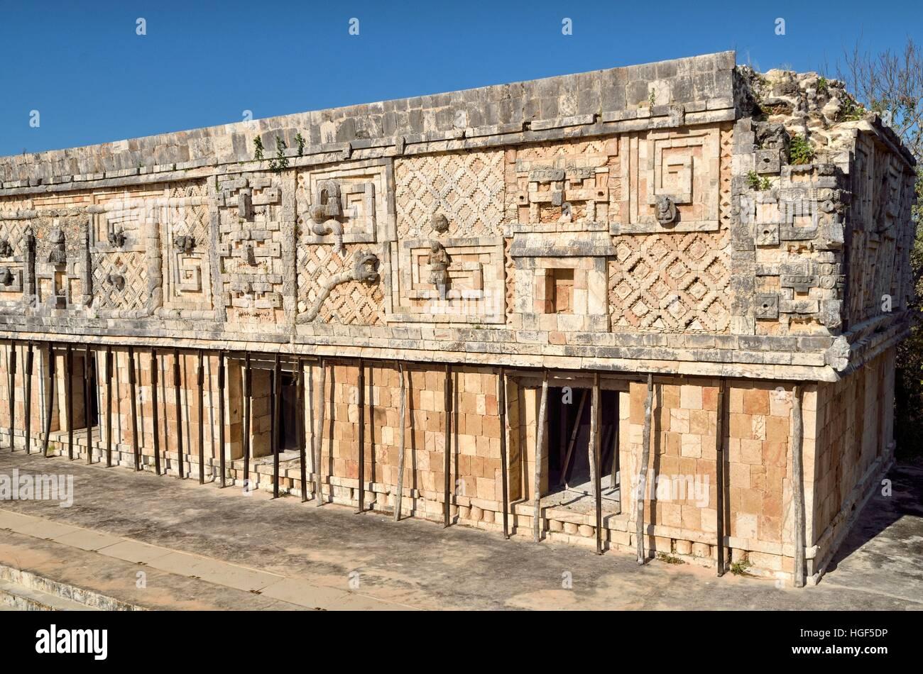 West wing of Nun's Quadrangle, Cuadrangulo de las Monjas, ancient Mayan city of Uxmal, Yucatan, Mexico - Stock Image
