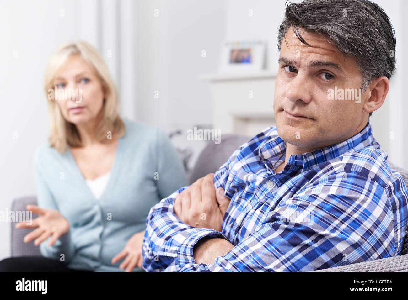 Mature Couple Having Argument At Home - Stock Image