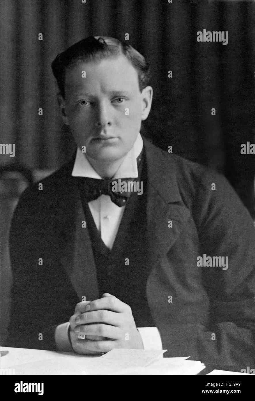 1900's  Churchill elected conservative MP for Oldham. Age 25. His first year in Parliament - Stock Image
