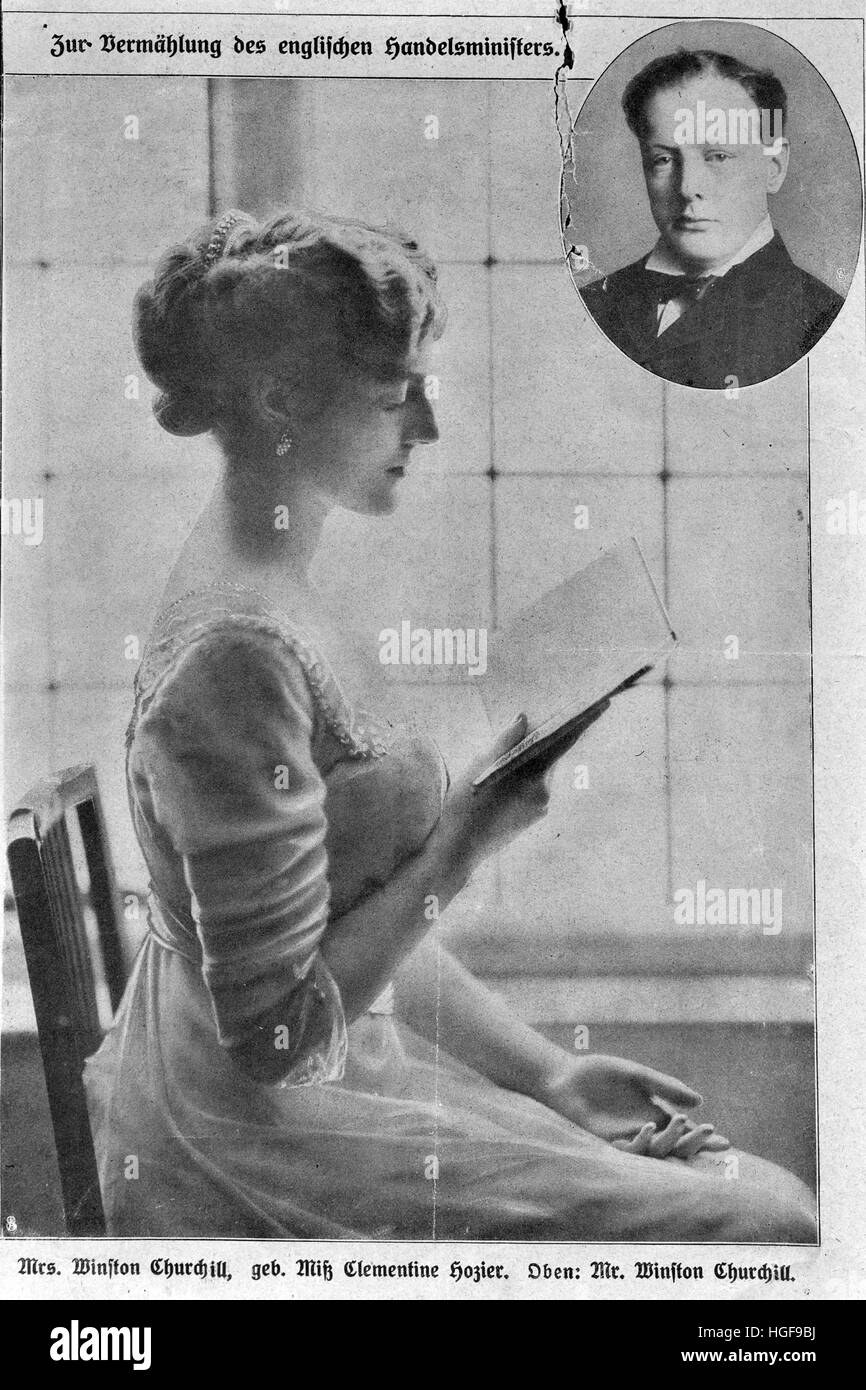 1908.  Engagement photograph of Clementine Hosier, with inset of husband-to-be,  Winston.   Illustration in German - Stock Image