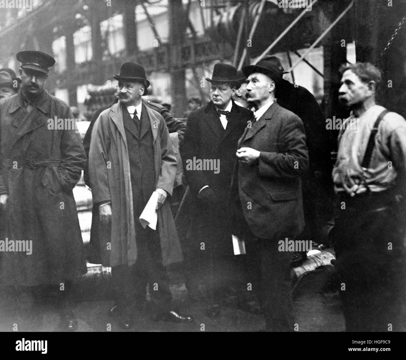 Winston Churchill at Beardmore's Gun Works, Glasgow as Minister of Munitions (1917-1918).  8th October 1918, - Stock Image