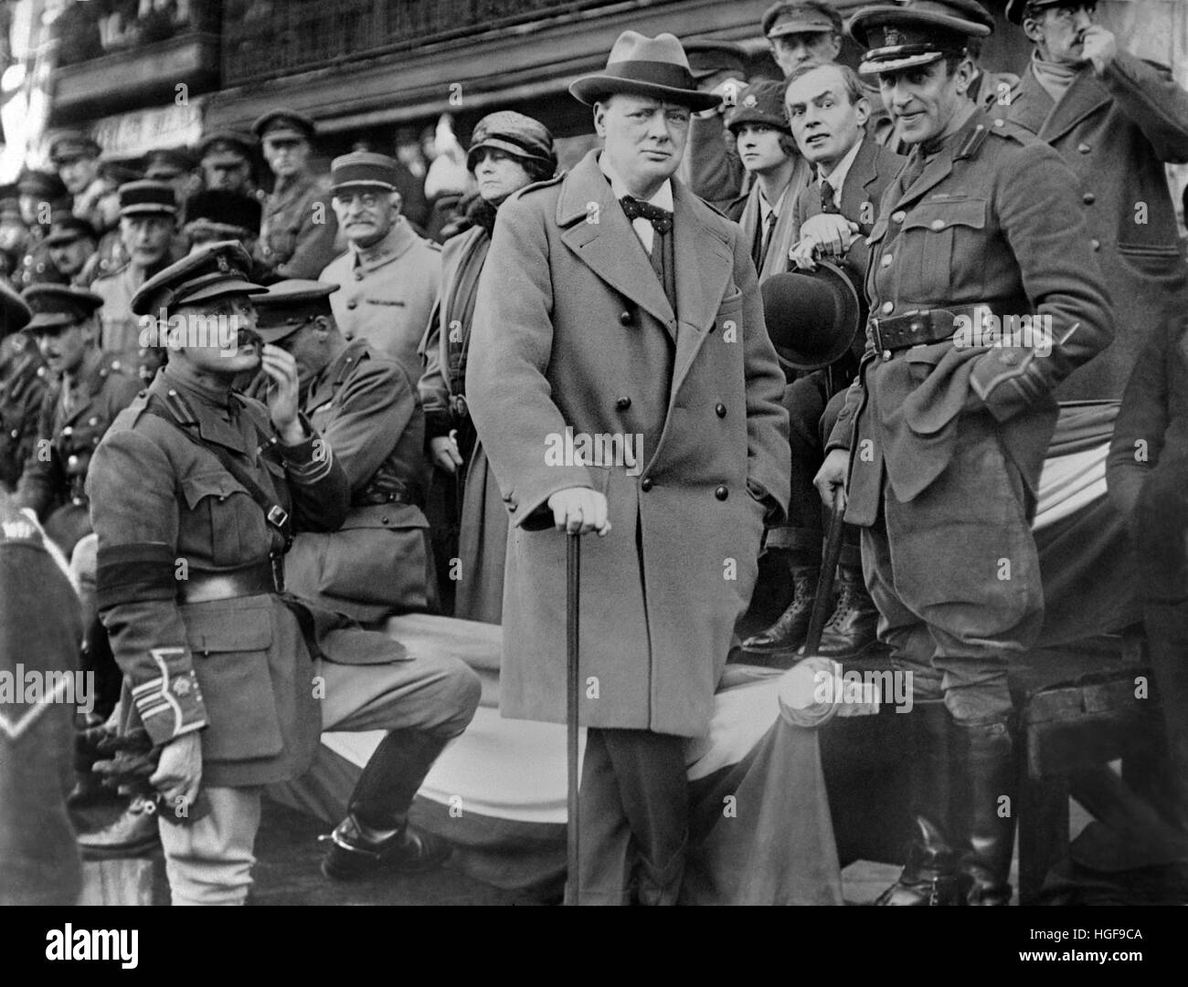 Winston Churchill in Lille watching a march past of British 47th Division troops who had liberated the town of Lille - Stock Image