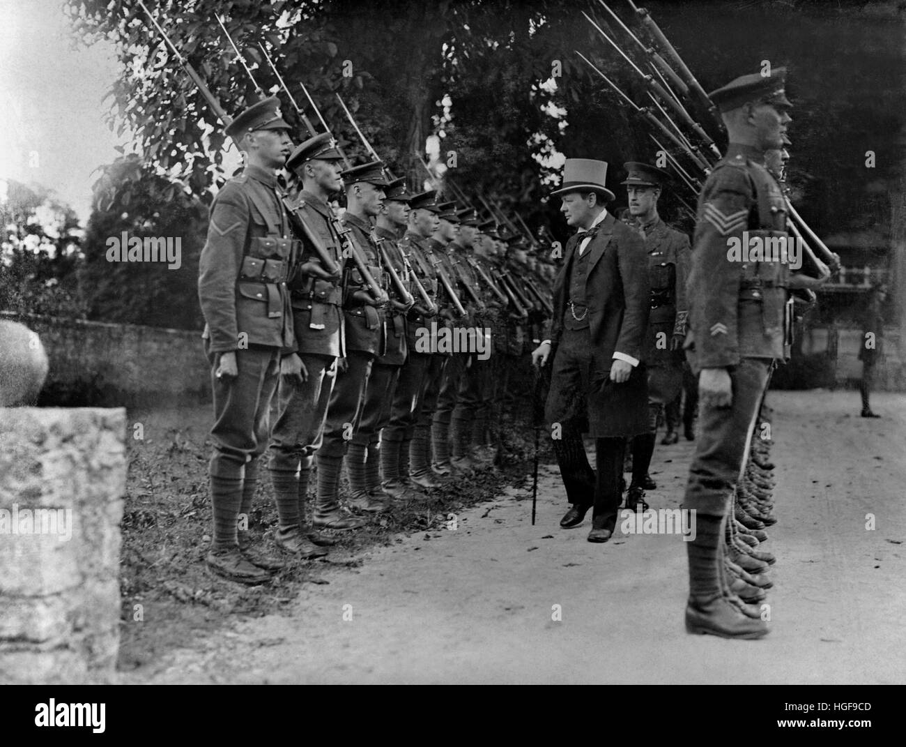 Winston Churchill inspecting forces, Cologne, August 1919 - Stock Image