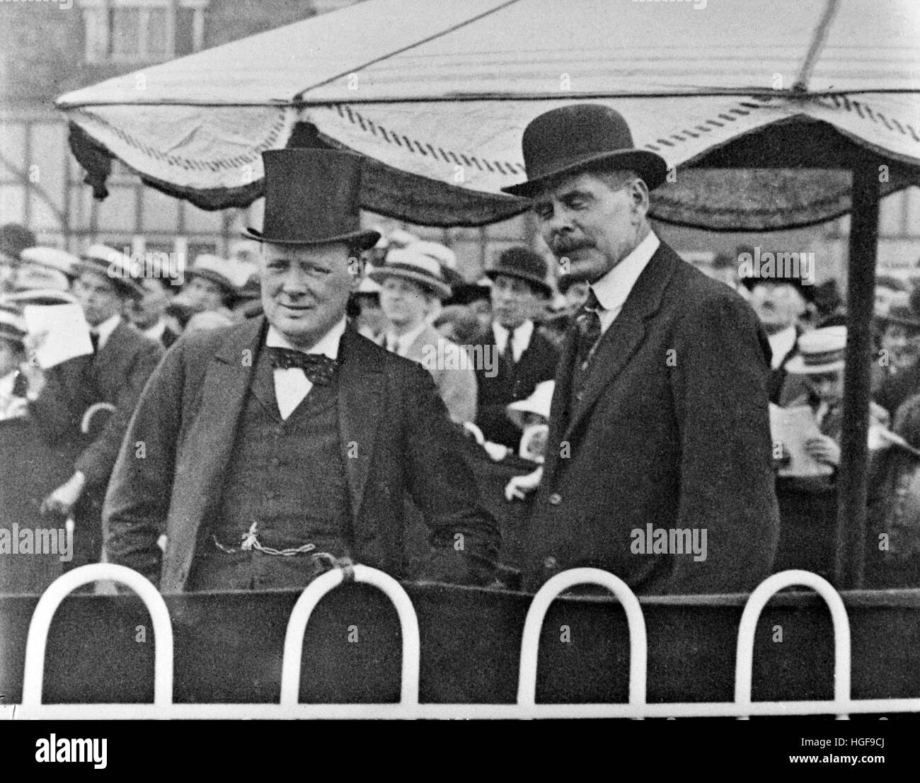 Winston Churchill with Chief of the Air staff, Sir Hugh Trenchard at Hendon Air Display. 8th July 1920 - Stock Image