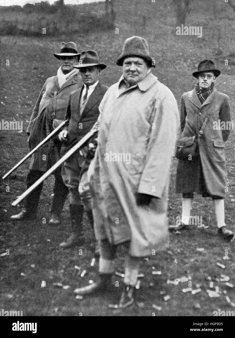Churchill shooting in North Wales. Guest of his friend the Duke of Westminster. - Stock Image