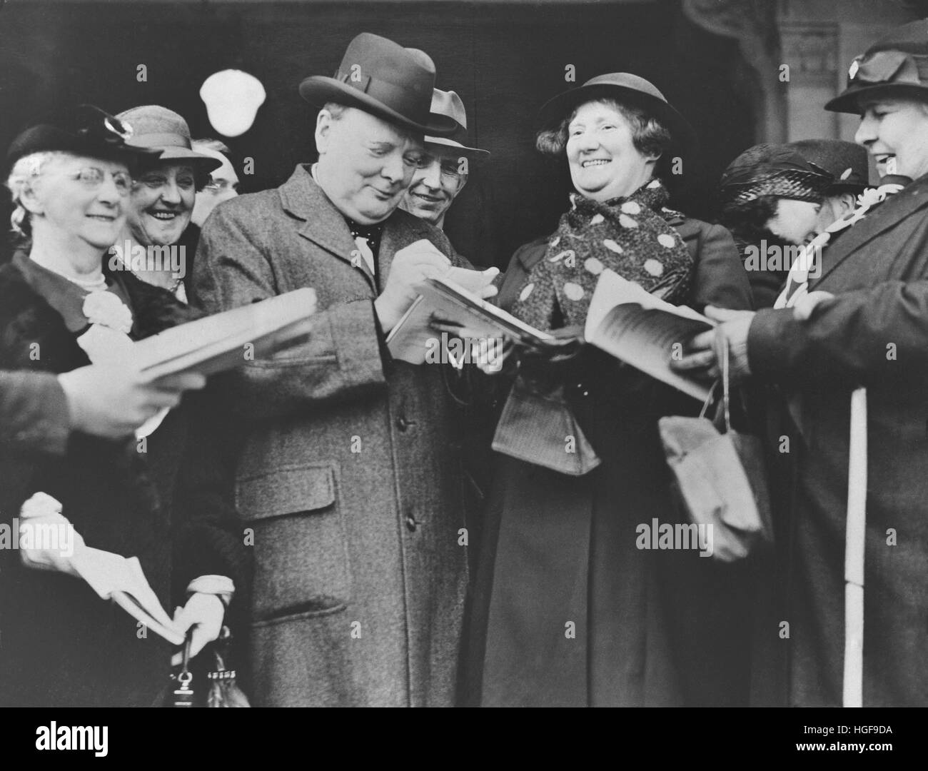 Winston Churchill signing autographs at the opening of the Conservative Party Conference at Scarborough.7th  October - Stock Image