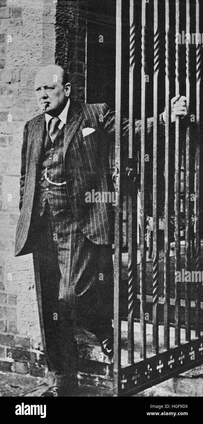 Churchill at home at Chartwell. 1940 - Stock Image