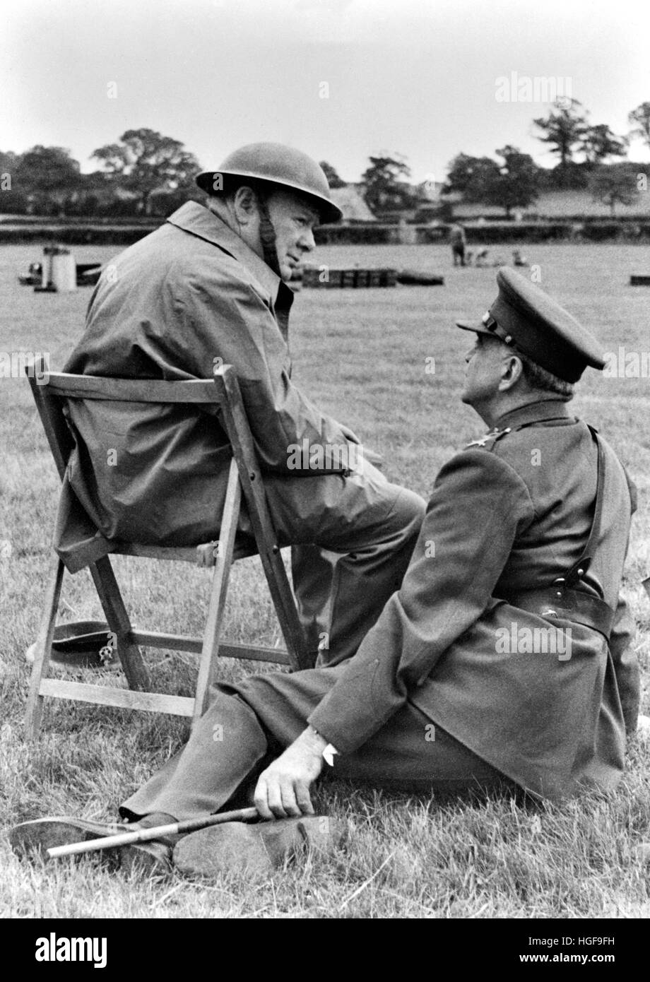 Winston Churchill visits an anti aircraft battery in Kent June 1944 talking to General Sir Frederick Pile (GOC Anti - Stock Image