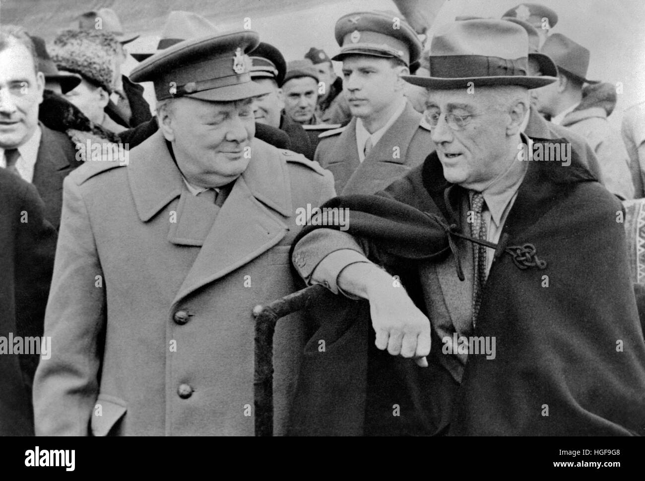 Winston Churchill and Franklin D Roosevelt arriving at the Yalta Conference Stock Photo