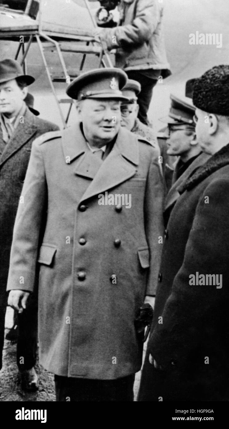 Winston Churchill arriving at the Yalta Conference Stock Photo