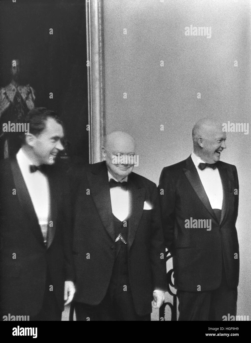 June 1954 in America.  Prime Minister Winston Churchill with President Dwight D Eisenhower and Vice President Richard - Stock Image