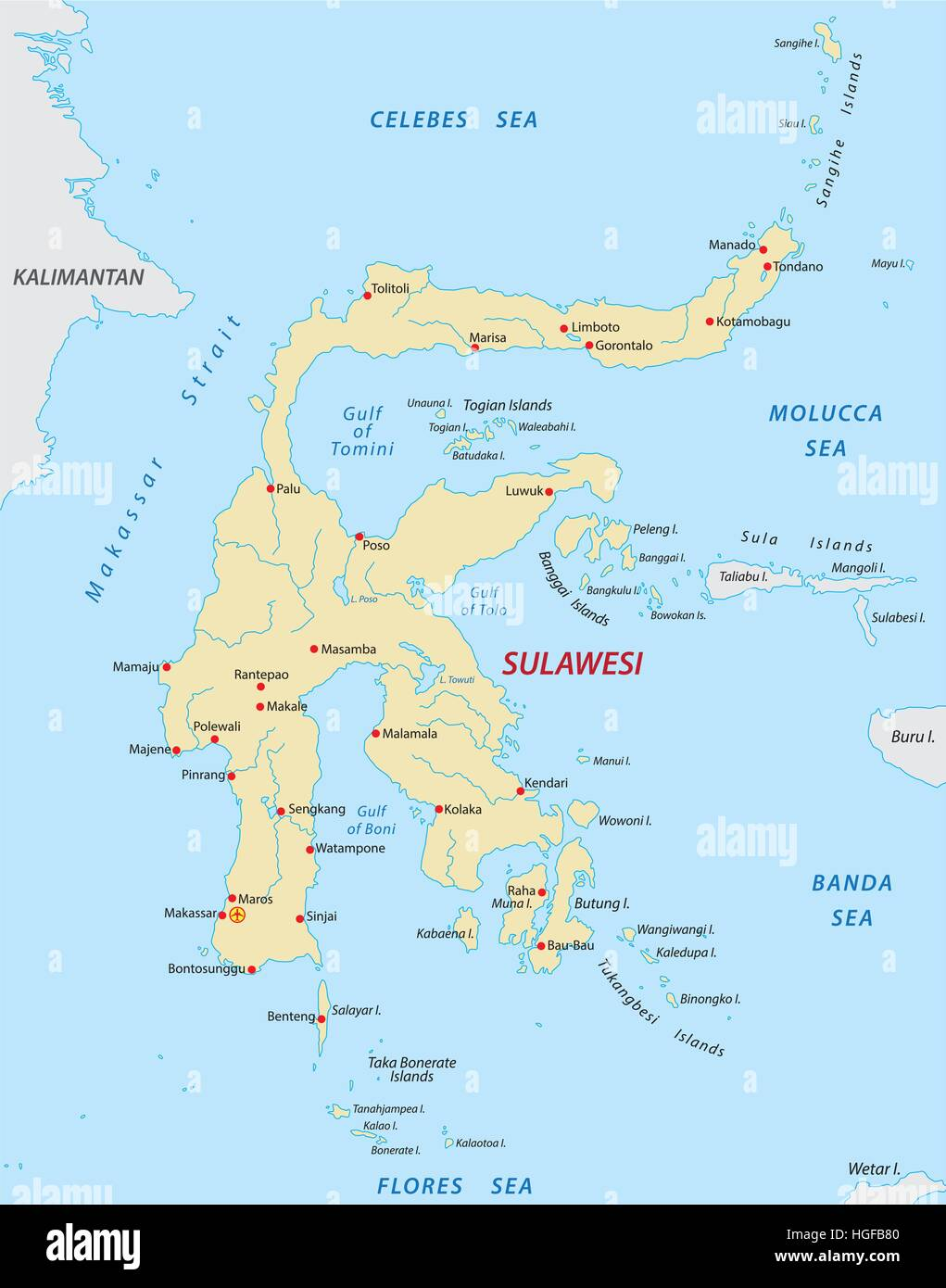 sulawesi map - Stock Vector