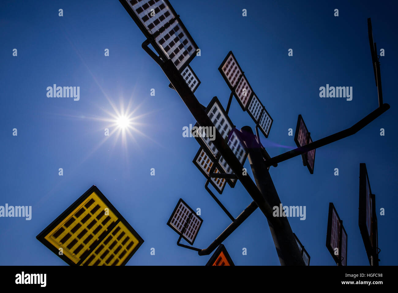 solar panels, Solarbaum, Ulmer Wohnviertel Solar City, Ulm, - Stock Image