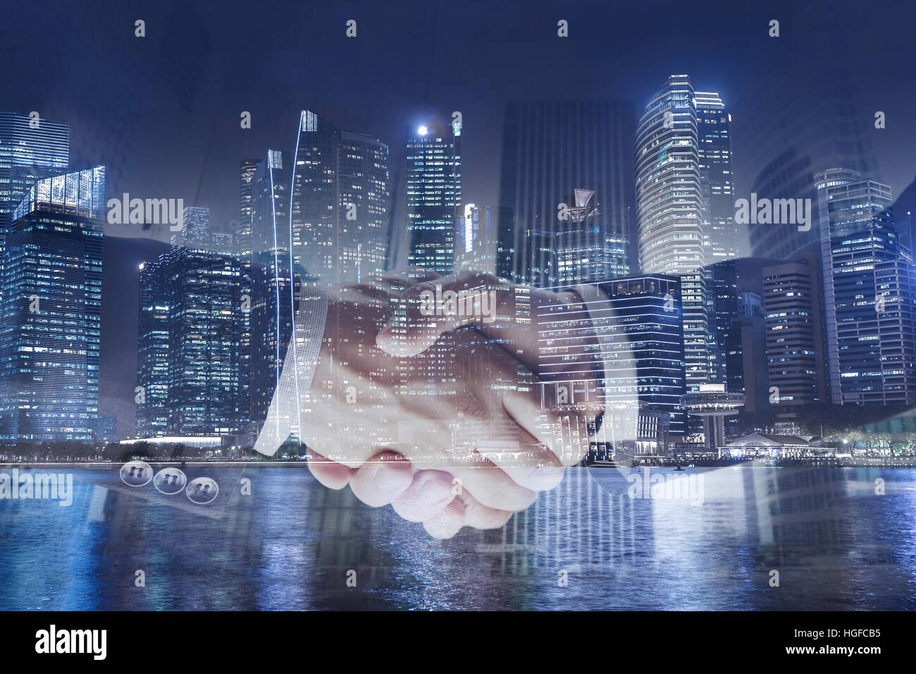 deal or agreement business concept, handshake double exposure, cooperation or partnership - Stock Image