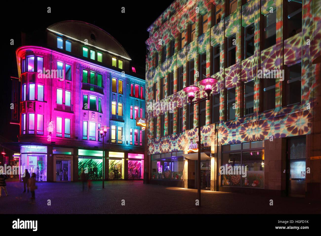 Light show Recklinghausen, illumunation, Ruhr area, North Rhine-Westphalia, - Stock Image