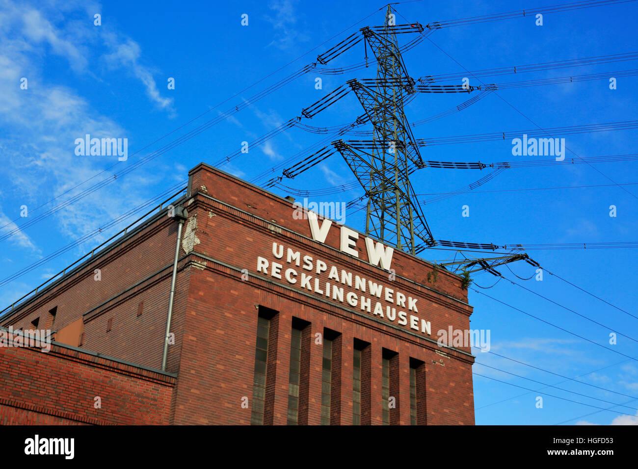 VEW Transformer station Recklinghausen, Ruhr area, North Rhine-Westphalia - Stock Image