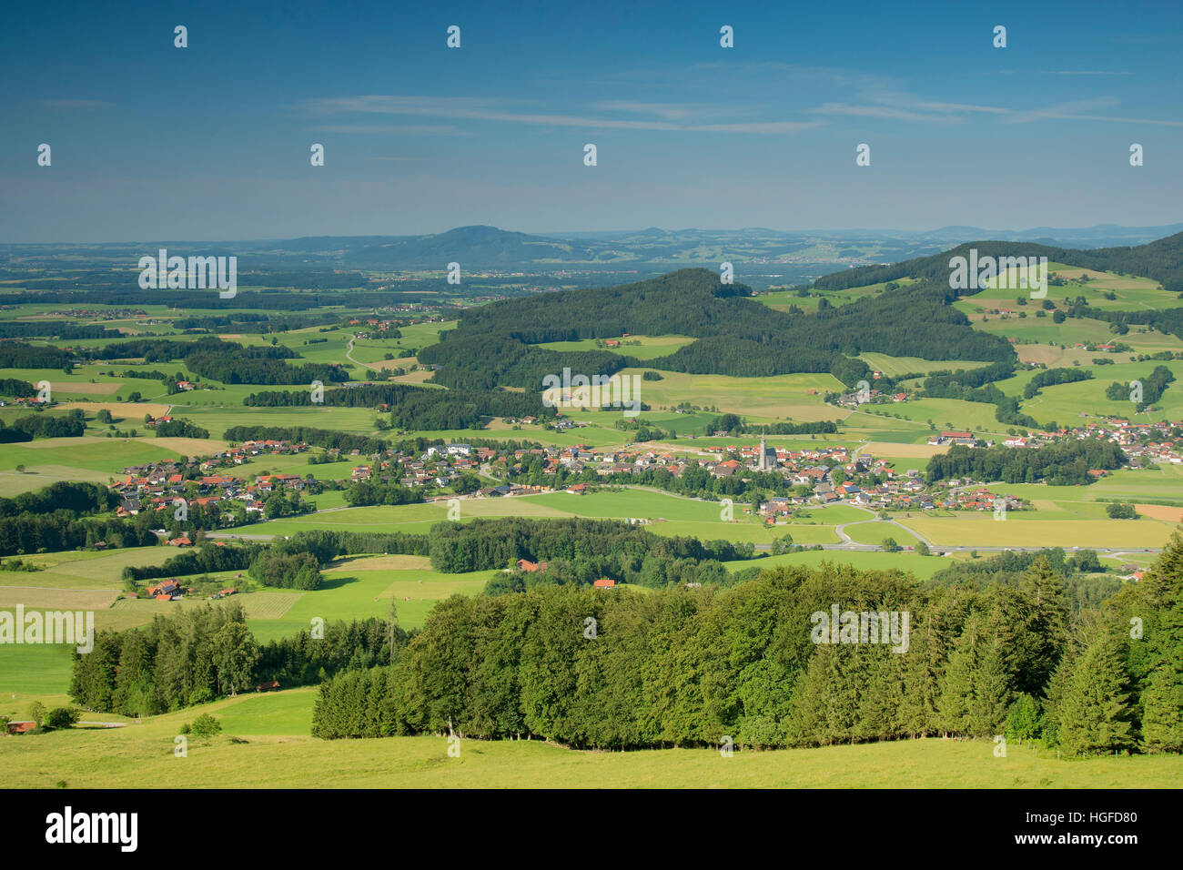 summery panorama after Anger with the Högl in the Rupertiwinkel - Stock Image