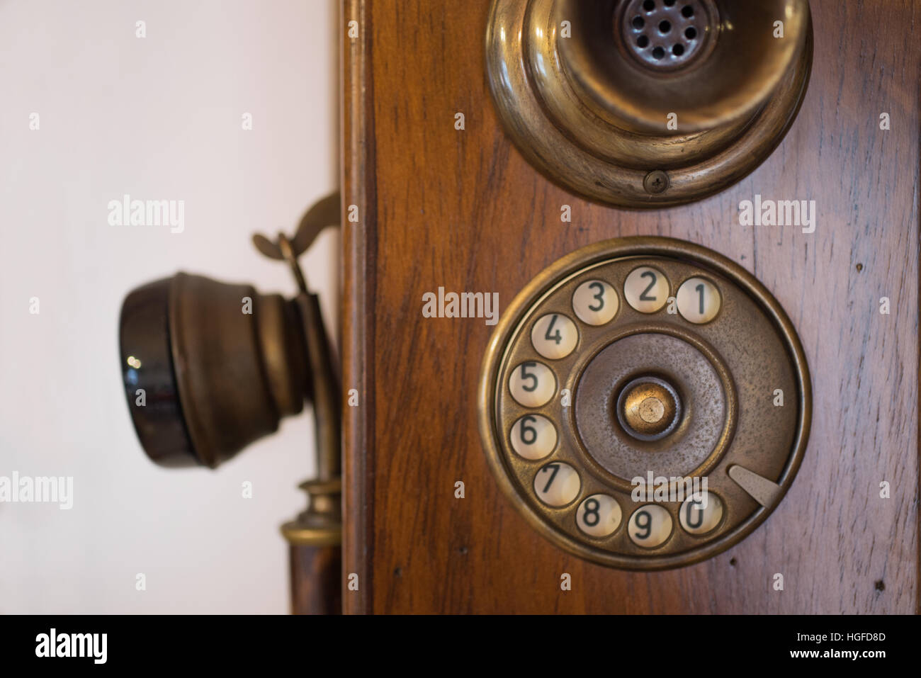 Old woody telephone's close up - Stock Image
