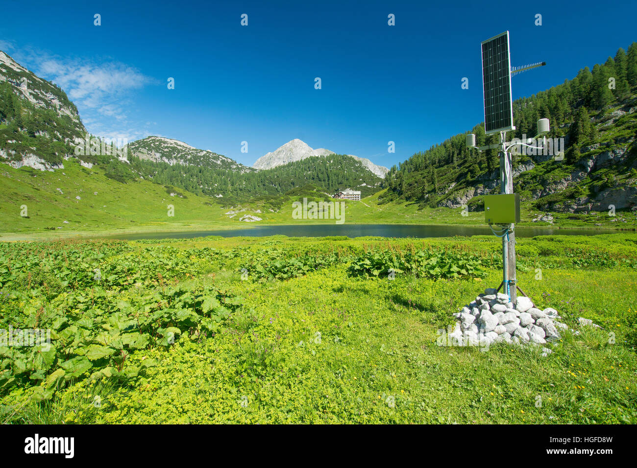 abc2e2c477 Measuring station of the German weather service on he Funtensee lake -  Stock Image