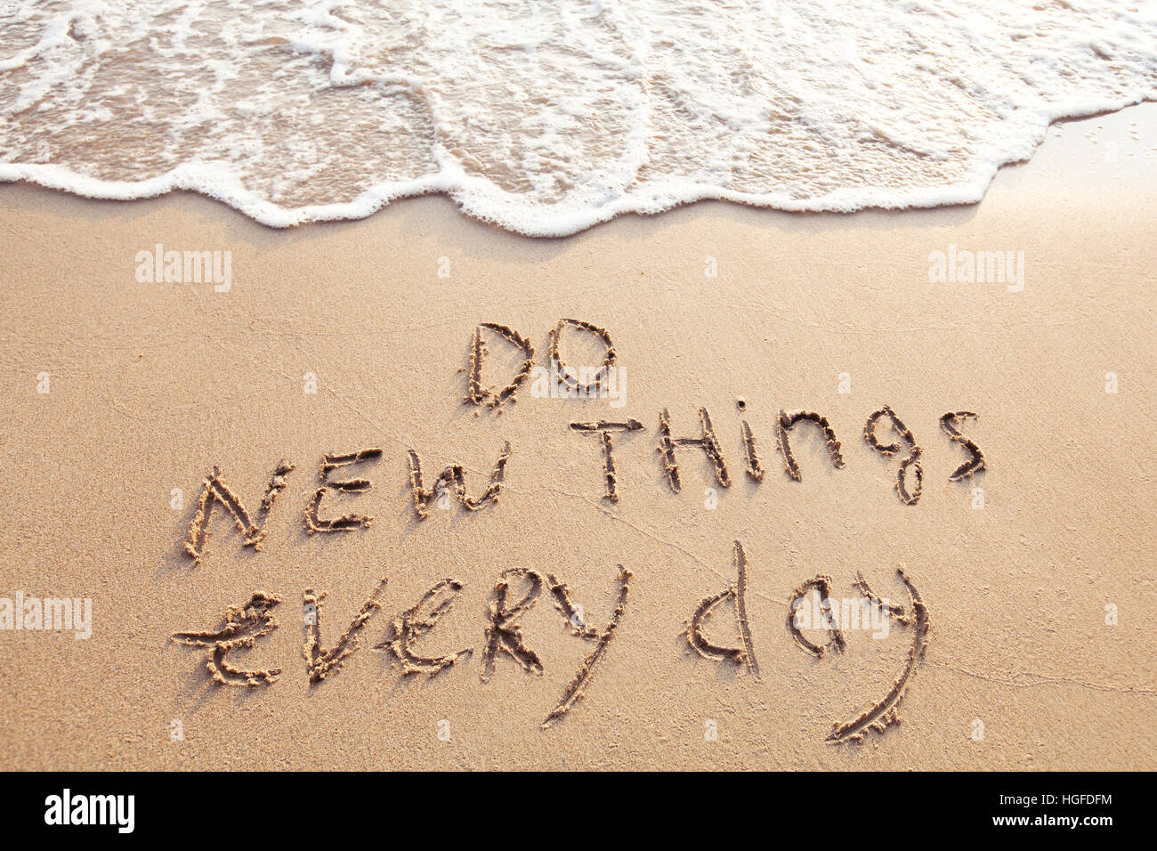 do new things every day, motivational quote concept - Stock Image