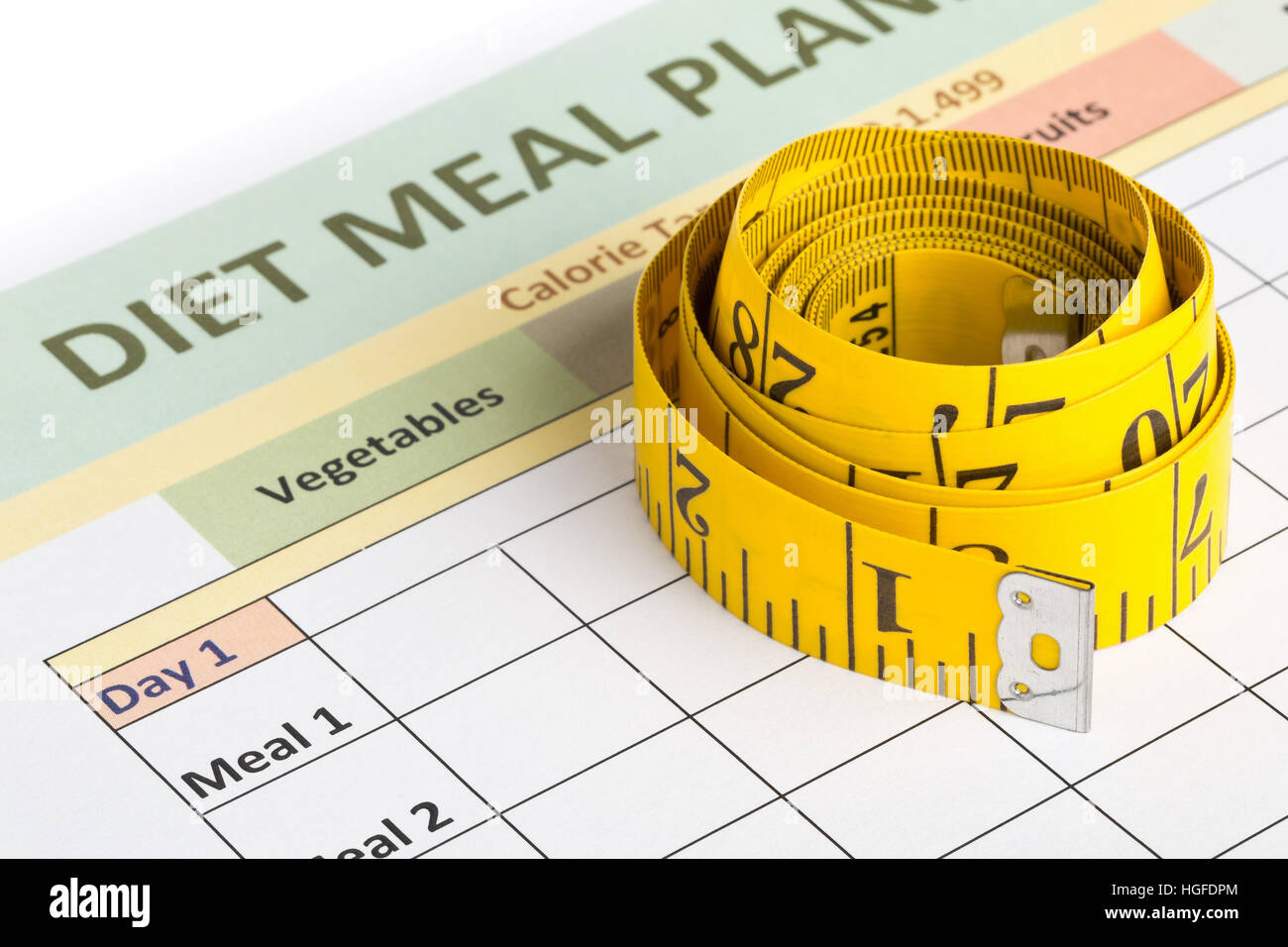 measurement tape on diet meal planner sheet dieting or weight loss