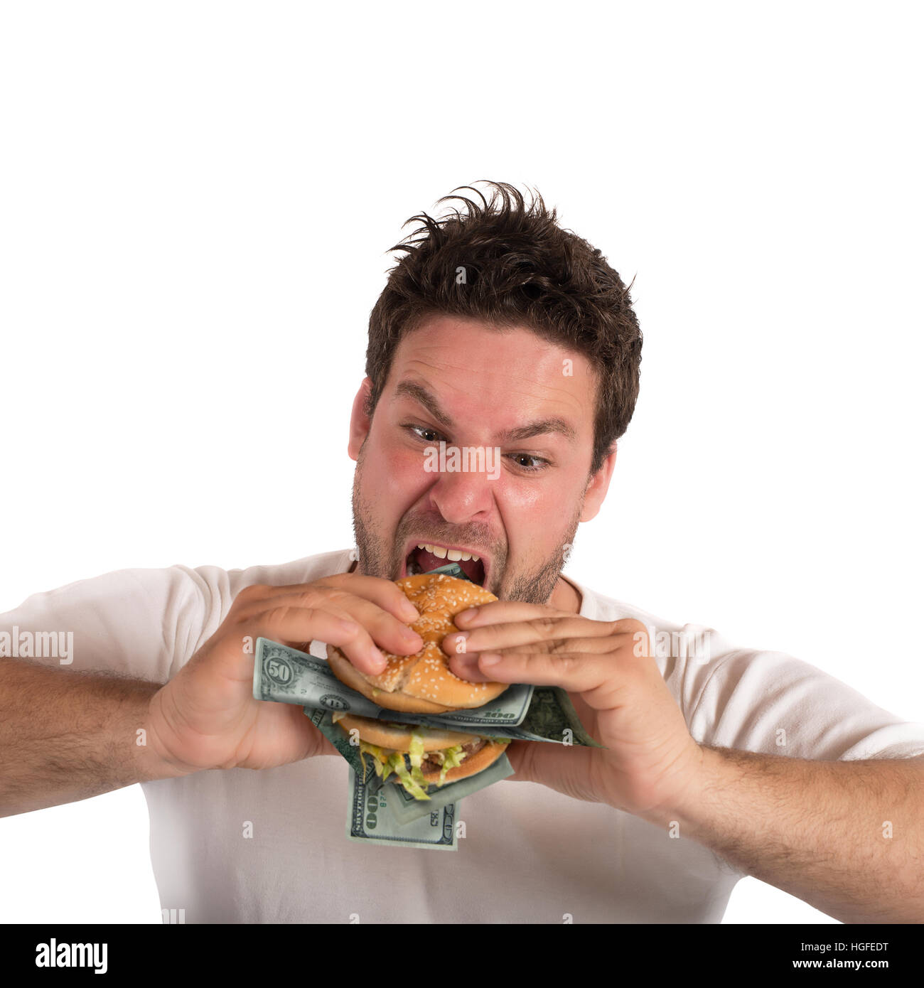 Greedy and fat businessman - Stock Image