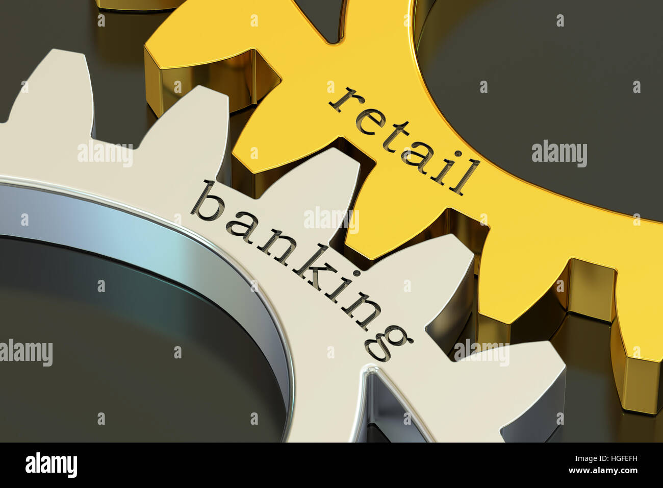 retail banking concept on the gearwheels, 3D rendering - Stock Image