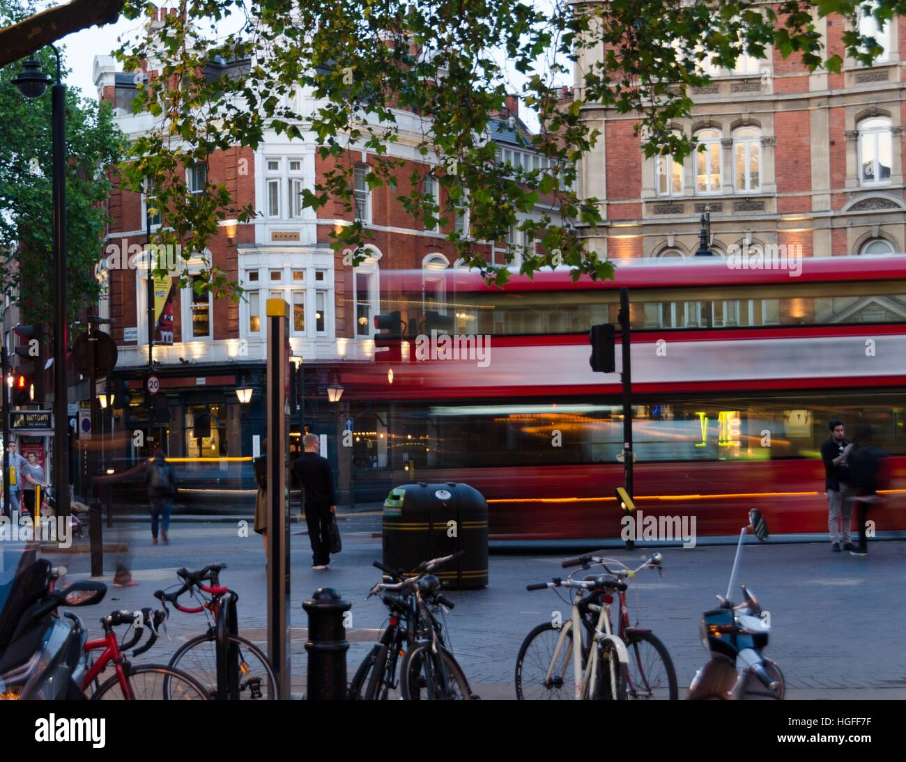 A time lapse of a London bus on Shaftesbury Avenue, London, England. - Stock Image