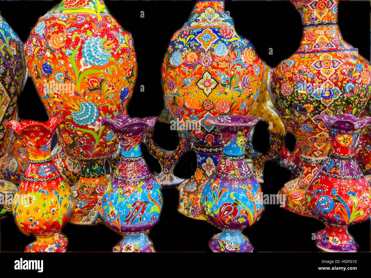 Ancient Arab Islamic Designs Pottery Vases Madaba Jordan - Stock Image