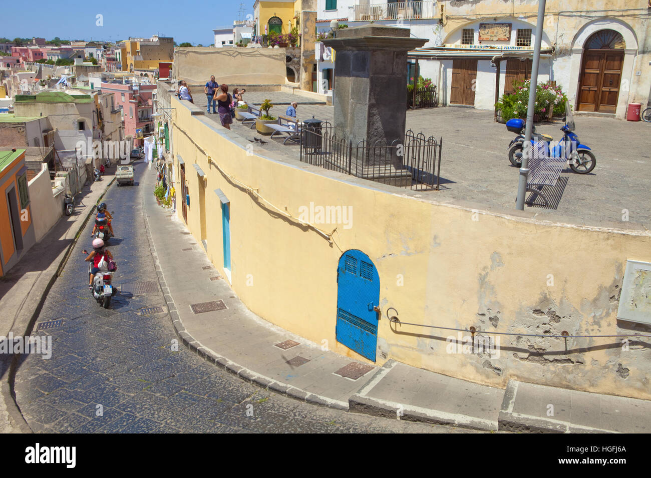 Italy, Gulf of Naples, Procida island - Piazzetta. - Stock Image
