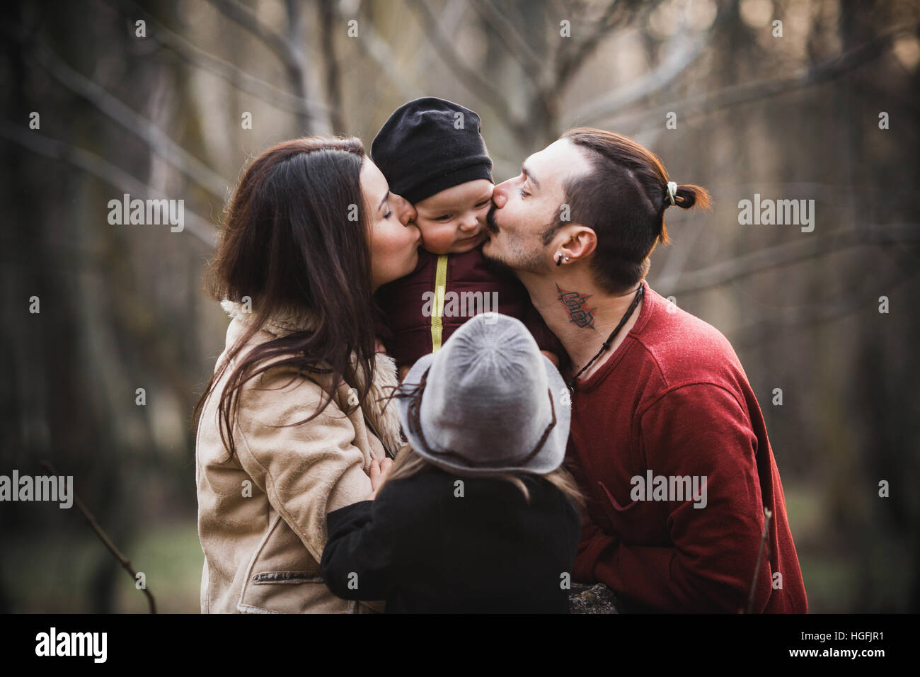 happy family in the autumn park - Stock Image