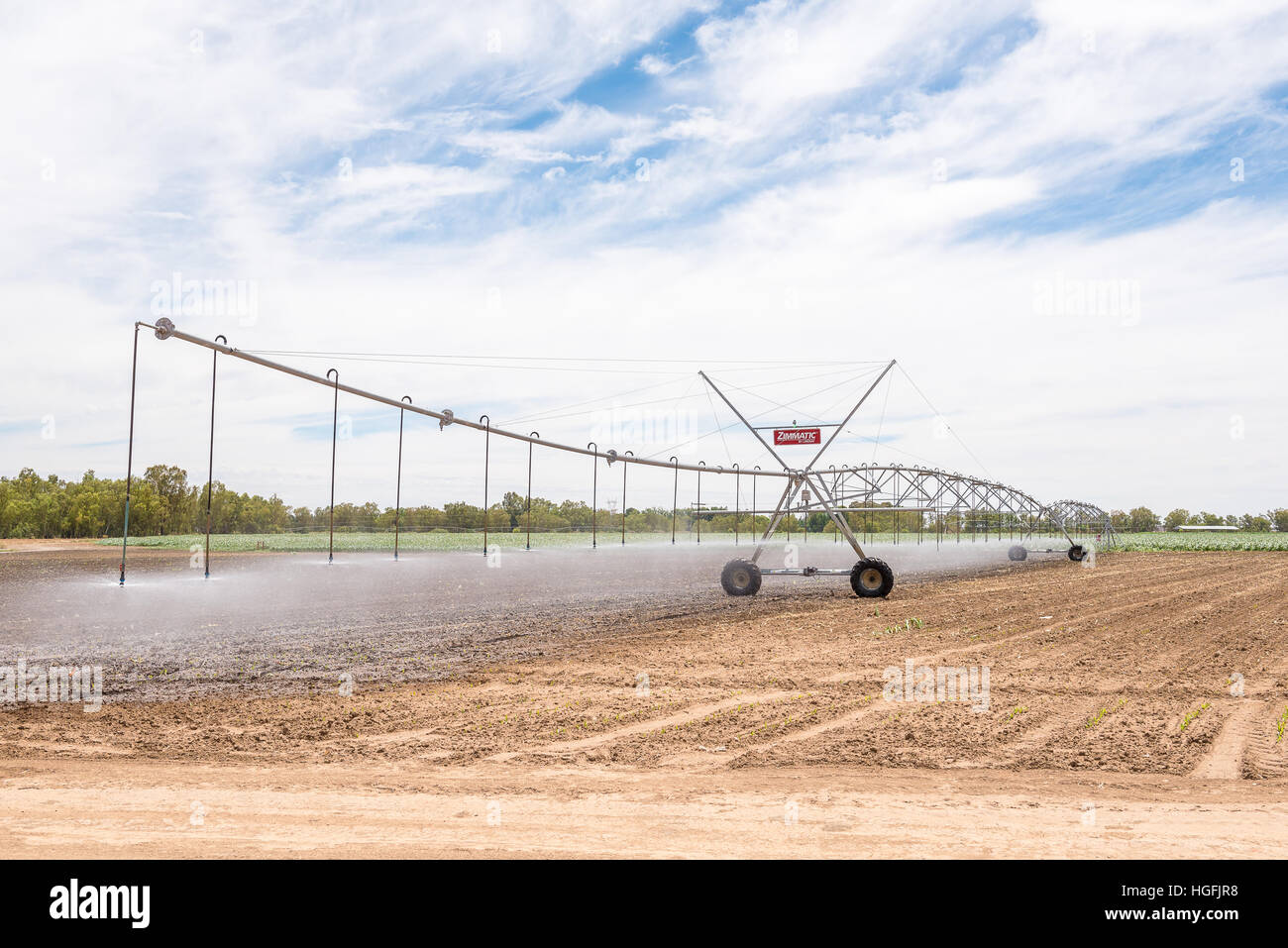 JACOBSDAL, SOUTH AFRICA - DECEMBER 24, 2016: A center pivot irrigation system in a corn field using rotator style - Stock Image