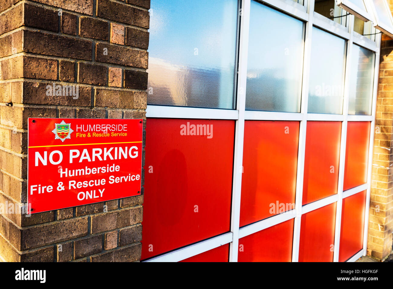 Humberside fire and rescue service fire station no parking sign Scunthorpe Town, Lincolnshire UK England - Stock Image