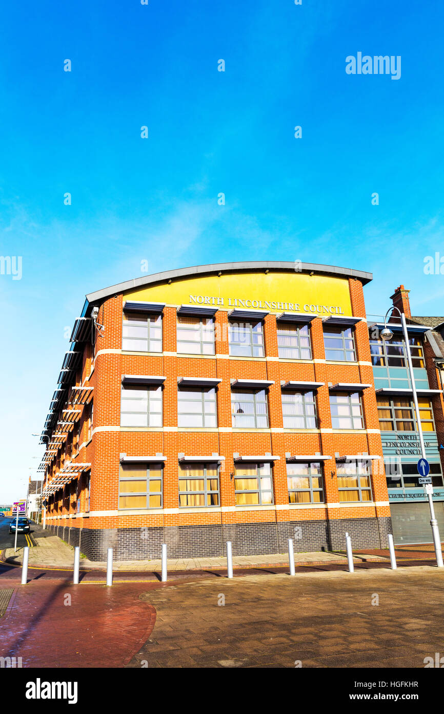 North Lincolnshire Council offices Scunthorpe Town,council office, council office building, building exterior UK - Stock Image