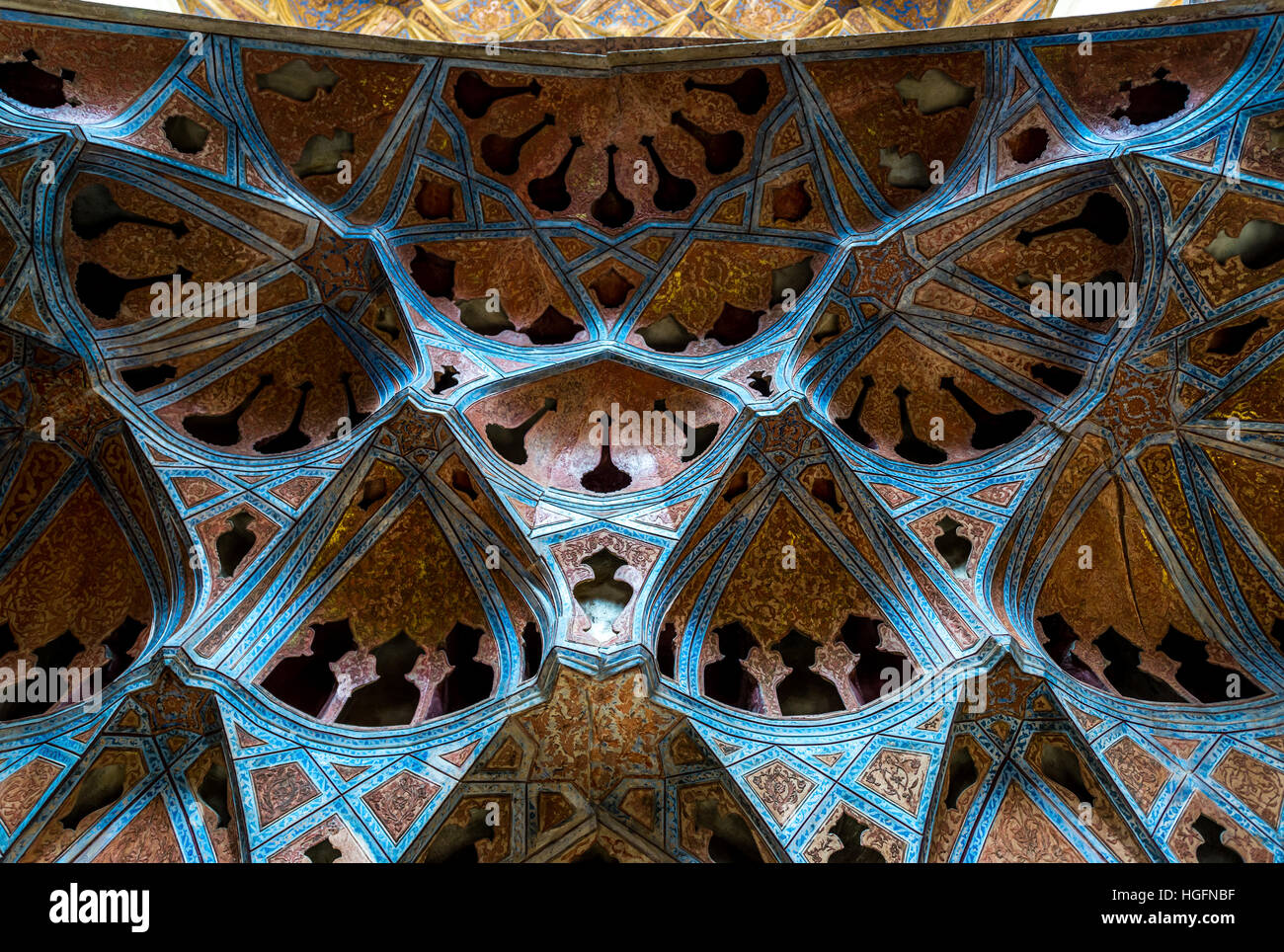 Ceiling of Music Hall in Safavid grand palace Ali Qapu located at Naqsh e Jahan Square in Isfahan, Iran Stock Photo